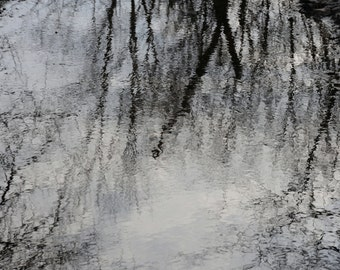 ACEO  Mirror - The winter sky mirrored in water