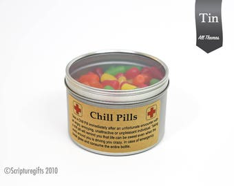 Chill Pills VARIOUS Themes 16oz Tin Container with Clear Lid
