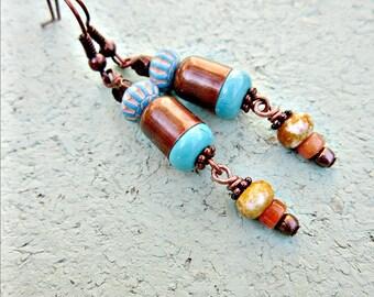 Boucles d'oreilles, perles cuivre et Turquoise se balance: Sarasota