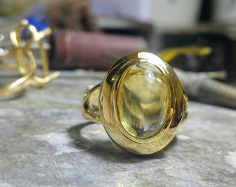 Gold statement ring, Citrine gold ring, bold gold ring, Citrine ring, natural Citrine.