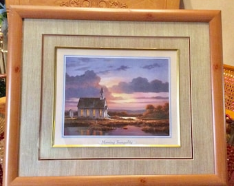Vintage 1980s print Morning Tranquility by TC Chiu. Excellent
