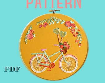 Bike Embroidery Pattern,Beginner Embroidery Kit, Bike Art, Instant Download PDF,Hand Embroidery Pattern,Printable Stitching Pattern,Sampler