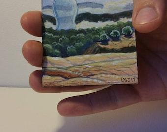Irrigation Bubble, ACEO ATC Original Tiny Painting by Dakota Jernigan