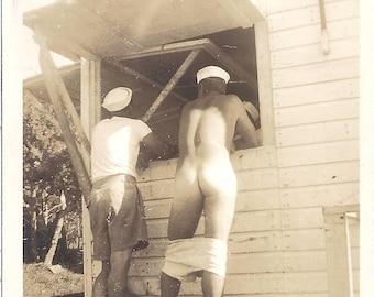 World War II (WWII) Sailors Mooning the Camera Digital Photo