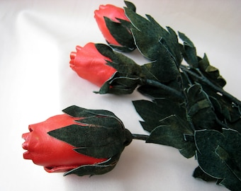 3pcs. Long stem, red leather rose, Third Wedding Anniversary, Gift Flower. Ready to ship