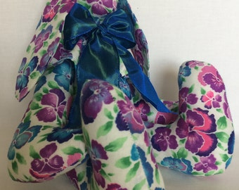 Handmade purple, lilac and blue pansy fabric bunny with ruffle and marine blue bow