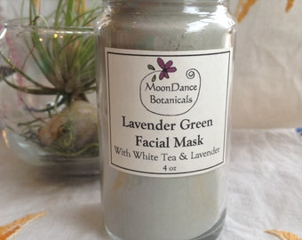 Lavender Green Facial Mask with White Tea and Lavender; Botanical Facial Products; All Natural Facial Product