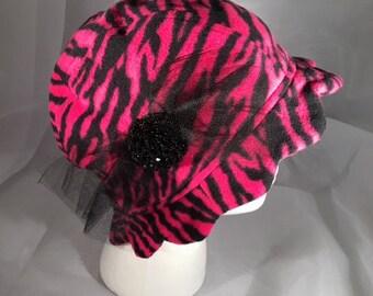 Pink & Black Animal Print Cloche Hat