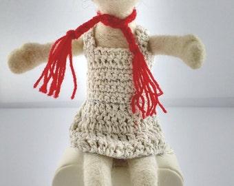 Girl wool carded, doll doll crochet wool, wool toy