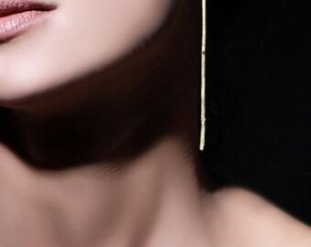 Long gold earrings, gold bar earrings, statement earrings, extra long earrings, minimalist earrings, geometric earrings, gift for her,Eg1520