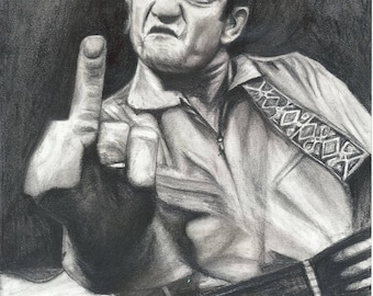 Johnny Cash Man In Black I DRAW The Line Middle Finger San Quentin