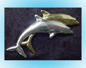 Liz Claiborne Vintage Dolphins Brooch Pin