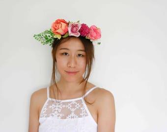 hot pink purple orange floral headpiece - [statement crown, boho bridal crown, spring races]