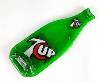 Vintage Bottle 7 Up Melted Bottle Spoon Rest, Kitchen Decor, Recycled Upcycled Glass Bottle, Teacher Gift, Melted Soda Bottle, 7UP