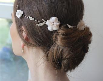 Brides powder floral headpieces, silver leaf pieces, hair accessories, bridal crown, flower tiaras, Bride hair vine, bridesmaid Wreath, Pins
