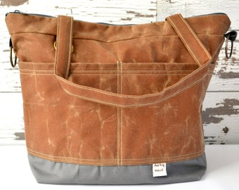 Day Bag Waxed Canvas Vegan Tote / cross body Tote, made in the USA by Darby Mack  / in Cinnamon brown