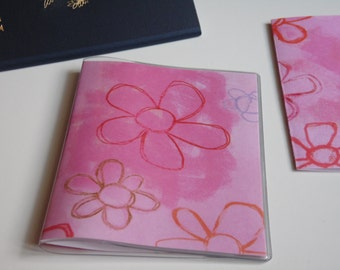 Pink Passport Cover, Doodle Flowers, Passport  Sleeve, Case, Holder