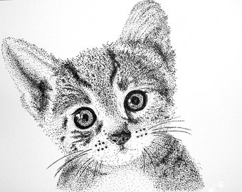 Instant Download of Kitten Pointillism Drawing