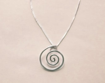 Silver Spiral Necklace, Small Sterling Silver Spiral Pendant with Silver Chain, Hammered Wire Artisan Jewelry, Simple Minimalist Pendant