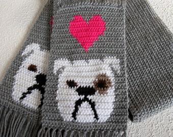 English Bulldog Scarf.  Grey, knit and crochet scarf with white bulldogs and bright pink hearts. British bulldog gifts
