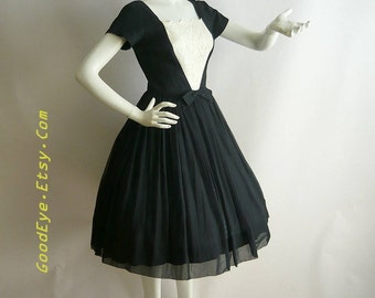 50s Petite SILK CHIFFON Petticoat Dress /  New Look Party Hollywood Glamour Black White Lace / Size small 2 4 6 / made USA