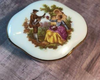 Vintage Limoges Porcelaine Courting Couple Trinket Box