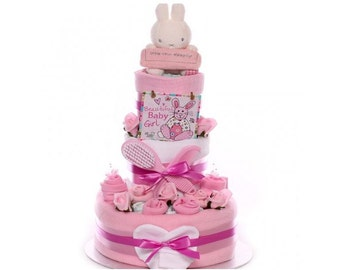 Miffy Nappy Cake - Baby Girl nappy cake, maternity nappy cake, baby shower nappy cake, large nappy cake, nappy cake Mum to be