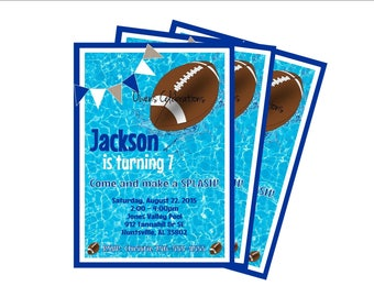 Football Pool Party Invitation, Football Birthday Invitation, Pool Party Decorations - Digital File