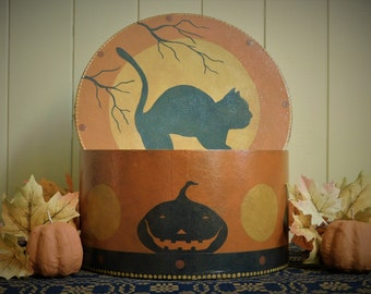 HALLOWEEN CAT BOX- Primitive Paper Mache Folk Art Halloween Decoration