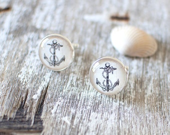 Vintage Anchor Cufflinks. Nautical Cufflinks. Nautical Wedding Cufflinks. Ocean, Sea, Beach. Travel, Wanderlust, Sailing, Sailor Gift.