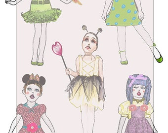 handdrawn painted dolls..... A4 digital collage...whimsical images