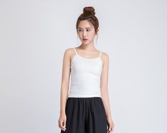 cotton camisole top, basics under layer, thin straps cotton top, white tank top, ladies camisole top, classic simple cotton top