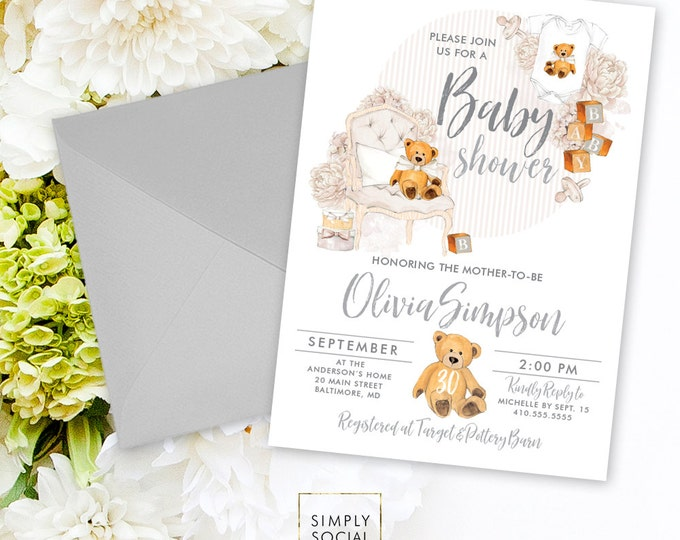 Teddy Bear Baby Shower Invitation - Gender Neutral Baby Shower Invitation Grey Invite Gray Baby Shower Baby Blocks Printable Invitation