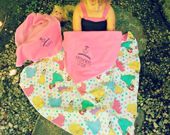 Disney baby blanket etsy disney princess inspired fleece toddler kids with doll blanket set personalized name embroidered baby negle Choice Image