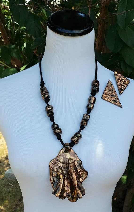 Vintage Ceramic Necklace and Earring Set LAYAWAY AVAILABLE