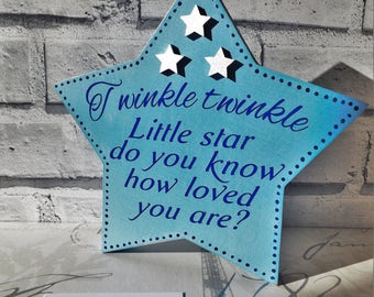 "Decorative ""Twinkle twinkle little star"" wooden star"