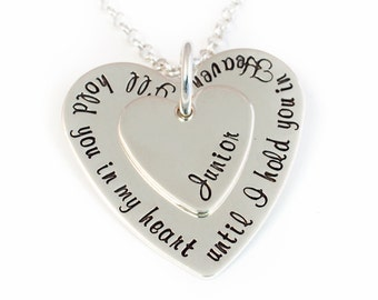 I'll Hold You In My Heart Memorial Necklace, Personalized Memory Necklace, Hand Stamped Sterling Silver