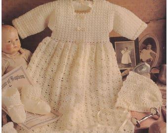 Crochet Pattern, Knit Pattern, Crochet Baby Gown Pattern, Knit Baby Gown Pattern,