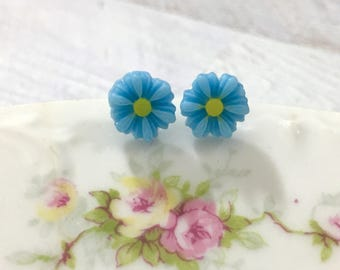 Little Blue Gerbera Daisy Stud Earrings with Surgical Steel Posts, Small Carved Spring Easter Daisies for Flower Girls and Weddings (SE18)