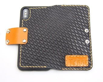 leather iphone 6/7/8 wallet case Personalization man & women leather iphone 6plus/7plus/8plus wallet case - black