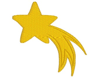BUY 2, GET 1 FREE - Mini Shooting Star Machine Embroidery Design in 3 Sizes - 3 inch, 2 inch and 1.5 inch