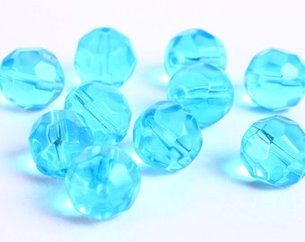 12mm Blue round beads - 12mm aqua faceted beads - 12mm glass beads - 10 pieces (149)