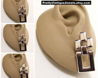 Monet Square Hoops Pierced Post Stud Silver Tone Vintage Stacked Discs Polished Mirror Finish Brushed Backs Long Dangles