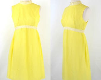 1960s Bright Yellow Sleeveless Chiffon Midi Length Dress, MOD