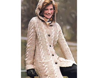 Knitting Pattern Womens Hooded Cabled Coat Pattern Knit Button Front Bulky Sweater Cardigan Pattern PDF Instant Download -K81