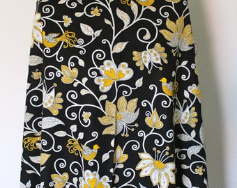 Cotton fabric black with flowers and birds