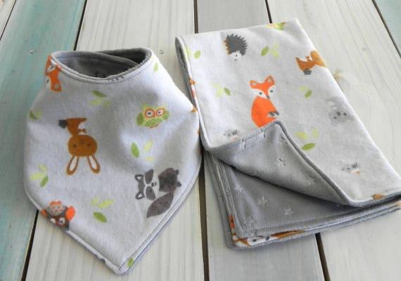 Baby Bandana Bib and Burp Cloth Set, Baby Neck Warmer, Woodland Baby Animals, Baby Shower Gift, Baby Girl or Boy Gift. Flannel and Minky