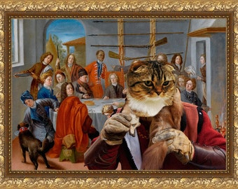 Tabby Cat Scottish Fold Fine Art Canvas Print -  A hunting banquet