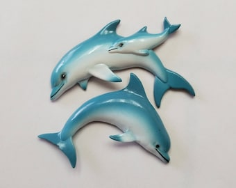 2 Dolphin Refrigerator Magnets, Free Shipping (18534), Dolphin Magnets, Pendantlady,pq