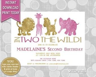 2nd Birthday | Birthday Invitation, Second Birthday, In Two the Wild, Printable invitation, Birthday Party, 2nd birthday Invite, Toy Animals